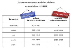Godziny pracy pedagoga i psychologa