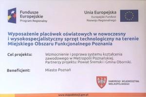 Wyposażenie placówek oświatowych w nowoczesny i wysokospecjalistyczny sprzęt technologiczny na terenie MOF Poznania
