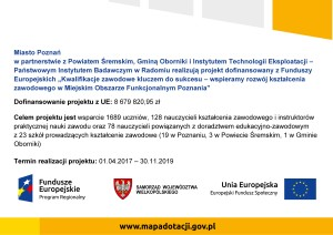 Kwalifikacje zawodowe kluczem do sukcesu – wspieramy rozwój kształcenia zawodowego w Miejskim Obszarze Funkcjonalnym Poznania