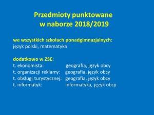 Przedmioty punktowane 2018_2019