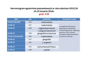 Harmonogram egzaminów poprawkowych w roku szkolnym 2015