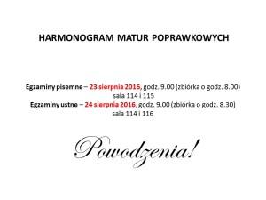 HARMONOGRAM MATUR POPRAWKOWYCH