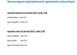 Harmonogram poprawkowych egzaminów maturalnych