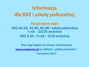 Ważna informacja dla uczestników KKZ i słuchaczy szkoły policealnej!