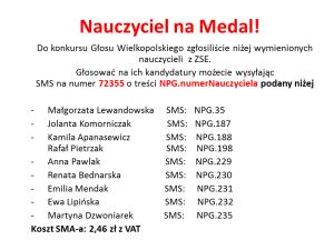 Głosujcie na Nauczyciela na Medal z naszej szkoły!