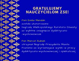 Nauczyciele ZSE nagrodzeni przez Prezydenta Miasta i Kuratora Oświaty!