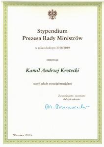 Kamil Krotecki stypendystą Prezesa rady Ministrów!
