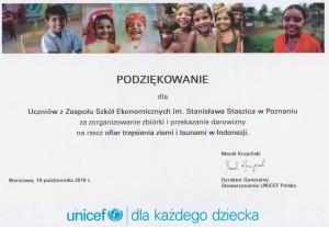 Podziękowanie od UNICEF